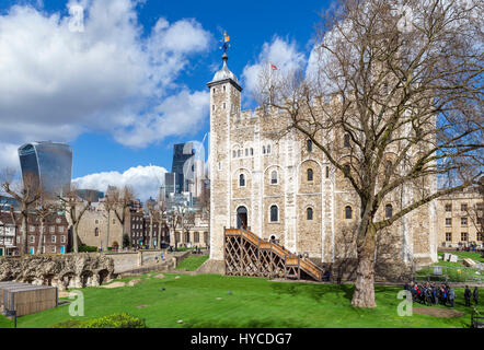 Tower of London. The White Tower with the Walkie Talkie building (20 Fenchurch Street) behind, Tower of London, - Stock Photo