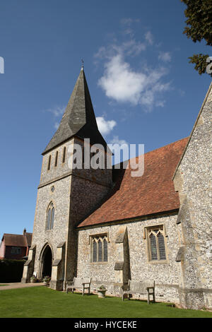 Saint Peter's Church Stockbridge. Portrait shot on a clear spring day of the village church in this small Hampshire - Stock Photo