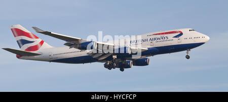 British Airways Boeing 747 Jumbo Jet G-CIVO on final approach to London-Heathrow Airport LHR - Stock Photo