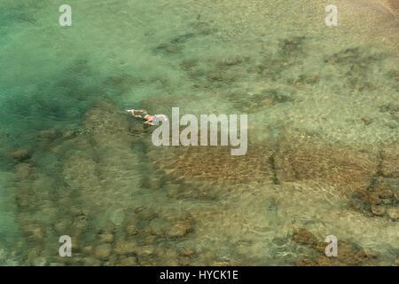 Schnorcheln bei den Playas de Papagayo, Playa Blanca, Insel Lanzarote, Kanarische Inseln, Spanien |  snorkeling - Stock Photo