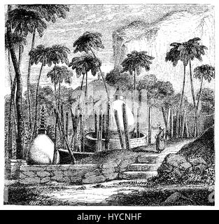 Vintage engraving of Thuparamaya place of meditation and  hemispherical structure containing a relic of the Buddah, - Stock Photo
