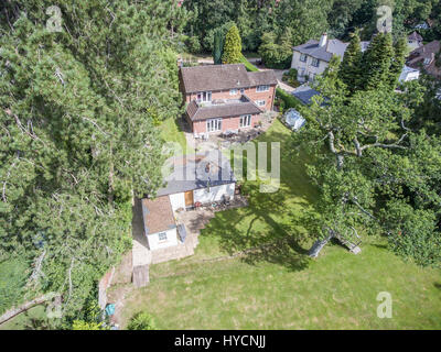 aerial views of large beautiful detached houses in Dorset UK - Stock Photo