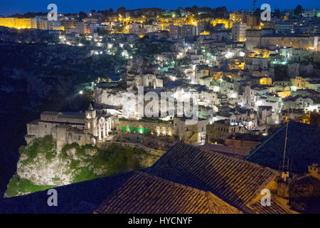 Night view of the city of Matera, Italy, European Capital of Culture for 2019 - Stock Photo