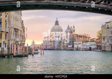 View of Grand canal and Santa Maria della Salute with Ponte dell Accademia bridge, Venice, Italy - Stock Photo