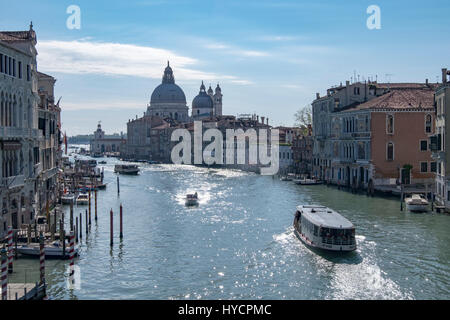 Morning view of the Grand Canal of Venice from the Academia Bridge - Stock Photo