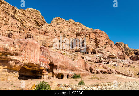The Royal Tombs at Petra, UNESCO world heritage site - Stock Photo