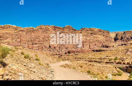 View of the Royal Tombs at Petra, UNESCO world heritage site - Stock Photo