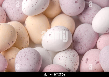 A selection of mini chocolate Easter eggs with a hard shell - Stock Photo