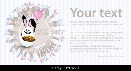 Easter illustration with place for text. Egg with rabbit ears and a chocolate cake against a striped horizontally - Stock Photo