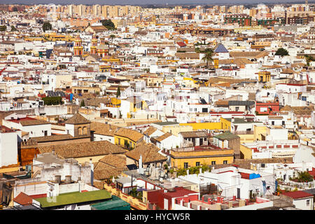 Roofs and white houses view from Giralda bell tower. Seville or sevilla Andalusia, Spain Europe Stock Photo