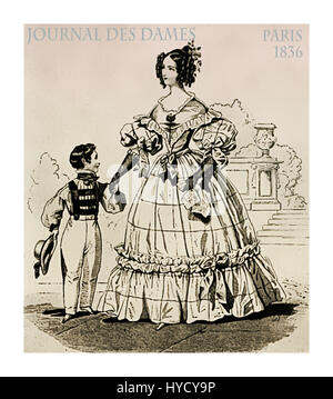 French 1836 fashion, young lady  fancy dressed with laces, frills and hairdo walking in the park along with her - Stock Photo