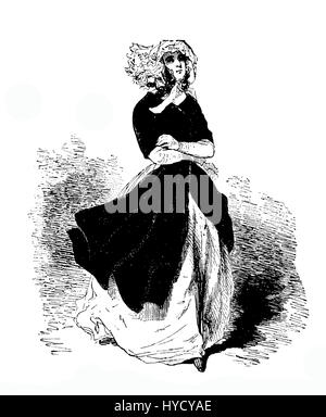 Engraving Of Young Women In Fashionable Victorian Dress