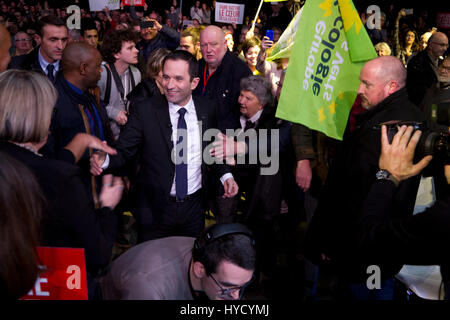 Brest.France.1st March 2017.French Socialist Party presidential candidate,Benoit Hamon,delivers a speech during - Stock Photo