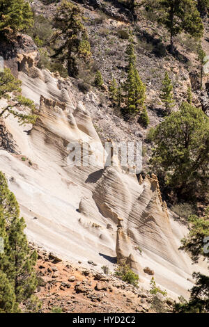 Lunar landscape, Paisaje Lunar area in the pine forests above Vilaflor, rocks eroded by wind and water over the - Stock Photo