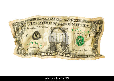 Crumpled One Dollar Bill - Stock Photo