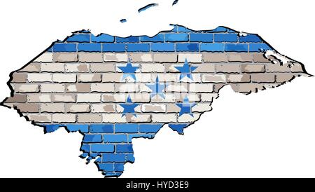 Honduras map on a brick wall - Illustration,   Honduras's map with flag inside,  Grunge map and Hondurasian national - Stock Photo