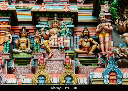 Meenakshi  Sundareswarar Temple in Madurai. Tamil Nadu, India. It is a twin temple, one of which is dedicated to - Stock Photo