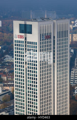 Hesse, Frankfurt, view from the Maintower to the Opernturm, the German headquarters offices of Union Bank of Switzerland - Stock Photo