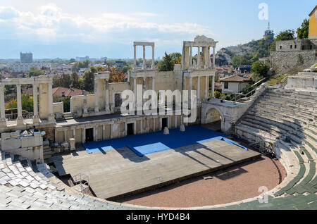 Ancient Roman theatre of Philippopolis, Plovdiv, Bulgaria - Stock Photo