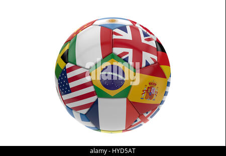 Soccer ball with many flags isolated on white background; 3d rendering - Stock Photo