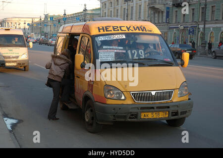 Marshrutka - detail from the streets of Sankt-Peterburg, Russia - Stock Photo
