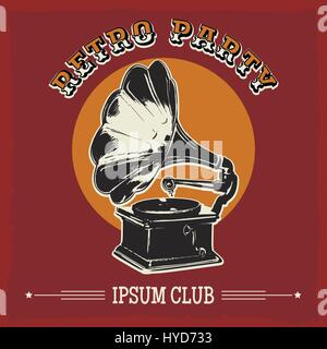 Vintage party poster with old gramophone. Vector illustration in retro style. - Stock Photo