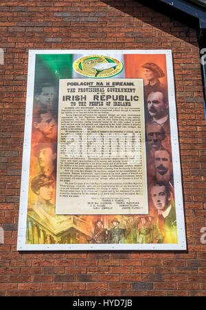 Easter 1916 Irish Proclamation mural board in New Lodge area of Belfast - Stock Photo