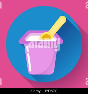 yogurt cup with a spoon flat icon Vector Illustration - Stock Photo