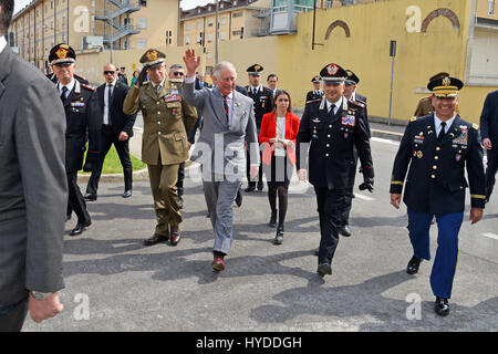 Charles, Prince of Wales waves during a visit to the Center of Excellence for Stability Police Units April 1, 2017 - Stock Photo