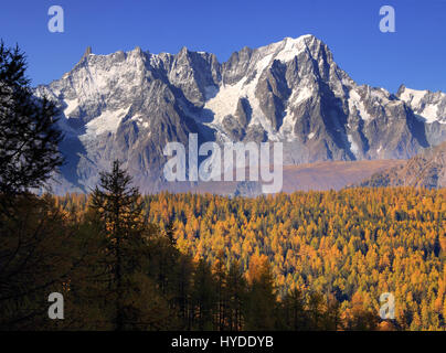A view of the majestic northeastern portion of the Monte Bianco/Mont Blanc - from Dente del Gigante/Dent du Geant - Stock Photo