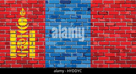 Flag of Mongolia on a brick wall - Illustration,  Mongolian flag painted on brick wall - Stock Photo