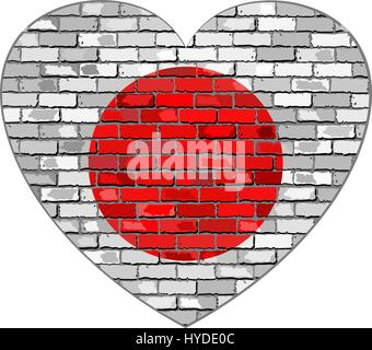 Flag of Japan on a brick wall in heart shape - Illustration, Japanese flag in brick style,  Abstract grunge Nippon - Stock Photo