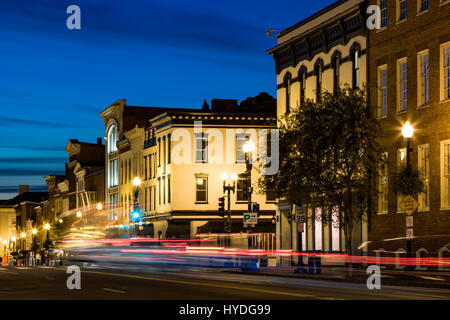Light streaks, Downtown Georgetown, Washington, District of Columbia USA - Stock Photo