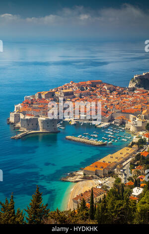 Dubrovnik, Croatia. Beautiful romantic old town of Dubrovnik during sunny day, Croatia,Europe. - Stock Photo