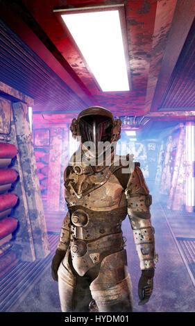 Astronaut In Spaceship Corridor 3D Render Science Fiction Illustration