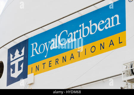 Sign of Royal Caribbean International on a cruise ship - Stock Photo