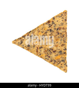 A single beans and rice chip isolated on a white background. - Stock Photo