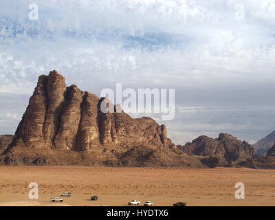 wadi rum desert in jordania, location place were been shot movies like indiana jones, laurence of arabia or red - Stock Photo