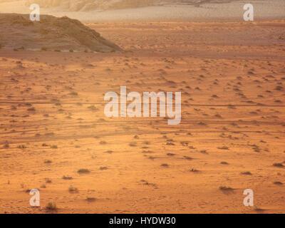 wadi rum desert in jordania, location place were been shot movies like indiana jones, laurence of arabia or red - Stock Photo