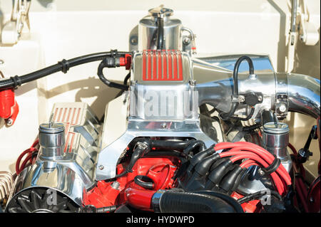 automotive engine bay parts on a high performance vehicle - Stock Photo