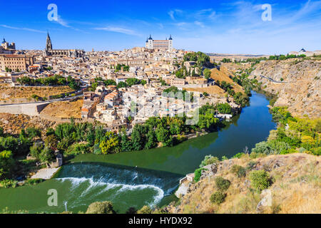 Toledo, Spain. Old city over the Tagus River. - Stock Photo