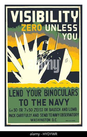 Vintage propaganda World War II poster featuring  burning ship sinking from torpedo strike 'Visibility Zero unless - Stock Photo