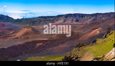 Panoramic view of volcanic landscape and craters at Haleakala, Maui, Hawaii, USA - Stock Photo