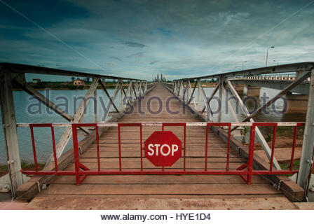 A bridge marking the division between the former south and north Vietnam in the DMZ area of Quang Tri, Vietnam. - Stock Photo