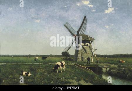 Johannes Hendrik Weissenbruch   Landscape with Windmill near Schiedam   Google Art Project - Stock Photo