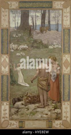 Pierre Puvis de Chavannes   Saint Genevieve as a child in prayer   Google Art Project - Stock Photo