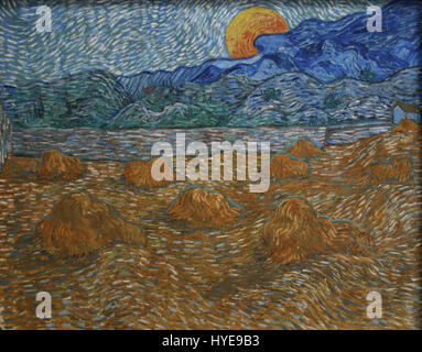 Landscape with wheat sheaves and rising moon - Stock Photo