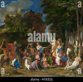 Giovanni Bellini and Titian   The Feast of the Gods   Google Art Project - Stock Photo