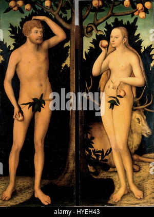 Lucas Cranach the Younger   Adam and Eve   Google Art Project - Stock Photo