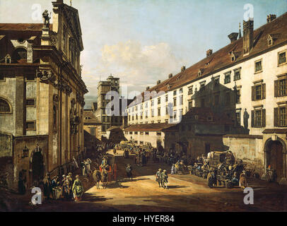 Bernardo Bellotto, called Canaletto   Vienna, Dominican Church   Google Art Project - Stock Photo